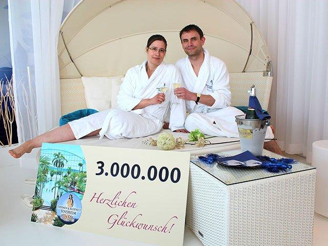 Die 3 Millionsten Besucher in der Thermen & Badewelt