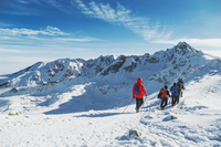 Group travelers go to the large winter mountain hike. Landscepe